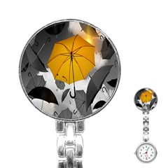 Umbrella Yellow Black White Stainless Steel Nurses Watch