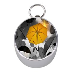 Umbrella Yellow Black White Mini Silver Compasses