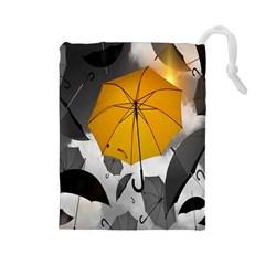 Umbrella Yellow Black White Drawstring Pouches (large)