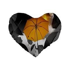 Umbrella Yellow Black White Standard 16  Premium Flano Heart Shape Cushions