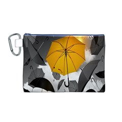 Umbrella Yellow Black White Canvas Cosmetic Bag (M)