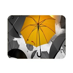Umbrella Yellow Black White Double Sided Flano Blanket (Mini)