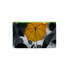 Umbrella Yellow Black White Cosmetic Bag (xs)