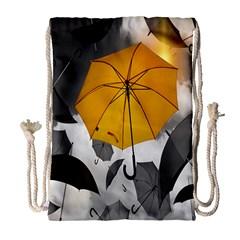 Umbrella Yellow Black White Drawstring Bag (Large)