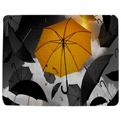 Umbrella Yellow Black White Jigsaw Puzzle Photo Stand (Rectangular)