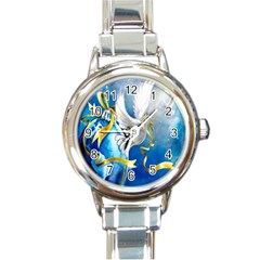 Turtle Doves Christmas Round Italian Charm Watch