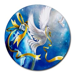 Turtle Doves Christmas Round Mousepads