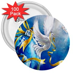 Turtle Doves Christmas 3  Buttons (100 pack)