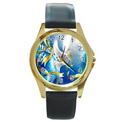 Turtle Doves Christmas Round Gold Metal Watch