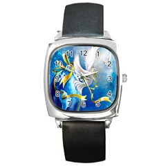 Turtle Doves Christmas Square Metal Watch