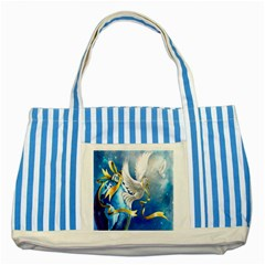 Turtle Doves Christmas Striped Blue Tote Bag
