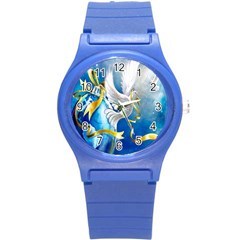 Turtle Doves Christmas Round Plastic Sport Watch (S)