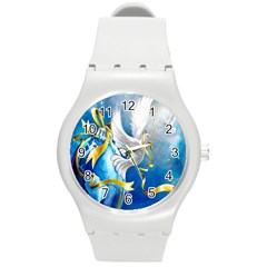 Turtle Doves Christmas Round Plastic Sport Watch (m)