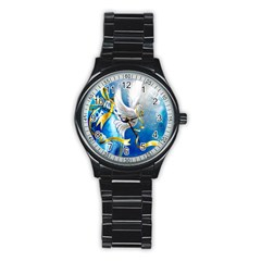Turtle Doves Christmas Stainless Steel Round Watch