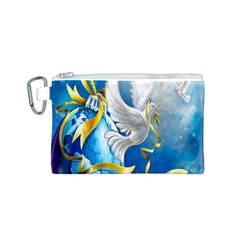 Turtle Doves Christmas Canvas Cosmetic Bag (S)