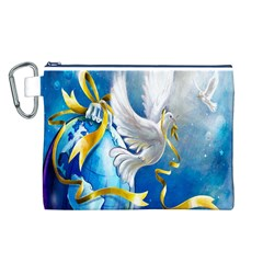 Turtle Doves Christmas Canvas Cosmetic Bag (l)