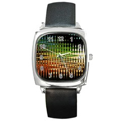 Triangle Patterns Square Metal Watch