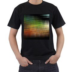 Triangle Patterns Men s T-Shirt (Black) (Two Sided)