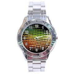 Triangle Patterns Stainless Steel Analogue Watch