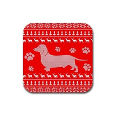 Ugly X Mas Design Rubber Square Coaster (4 pack)
