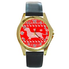 Ugly X Mas Design Round Gold Metal Watch