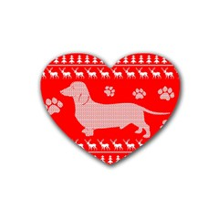Ugly X Mas Design Heart Coaster (4 pack)