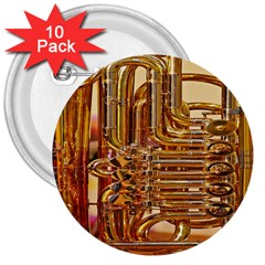 Tuba Valves Pipe Shiny Instrument Music 3  Buttons (10 Pack)