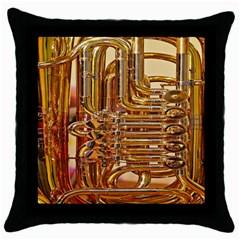 Tuba Valves Pipe Shiny Instrument Music Throw Pillow Case (Black)