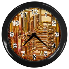 Tuba Valves Pipe Shiny Instrument Music Wall Clocks (Black)