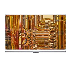 Tuba Valves Pipe Shiny Instrument Music Business Card Holders
