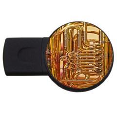 Tuba Valves Pipe Shiny Instrument Music USB Flash Drive Round (2 GB)