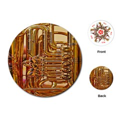 Tuba Valves Pipe Shiny Instrument Music Playing Cards (round)