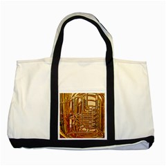 Tuba Valves Pipe Shiny Instrument Music Two Tone Tote Bag