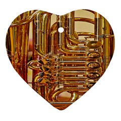 Tuba Valves Pipe Shiny Instrument Music Heart Ornament (two Sides)