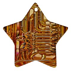 Tuba Valves Pipe Shiny Instrument Music Star Ornament (Two Sides)