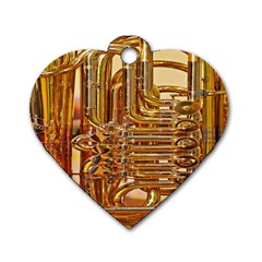 Tuba Valves Pipe Shiny Instrument Music Dog Tag Heart (two Sides)