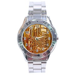 Tuba Valves Pipe Shiny Instrument Music Stainless Steel Analogue Watch