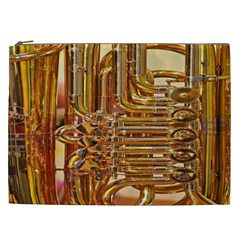 Tuba Valves Pipe Shiny Instrument Music Cosmetic Bag (xxl)