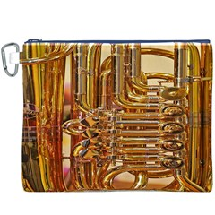 Tuba Valves Pipe Shiny Instrument Music Canvas Cosmetic Bag (XXXL)