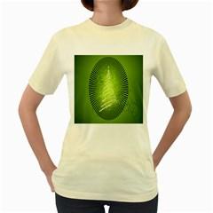 Vector Chirstmas Tree Design Women s Yellow T-Shirt