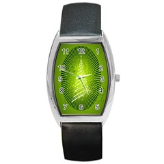Vector Chirstmas Tree Design Barrel Style Metal Watch