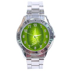 Vector Chirstmas Tree Design Stainless Steel Analogue Watch