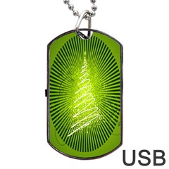Vector Chirstmas Tree Design Dog Tag USB Flash (Two Sides)