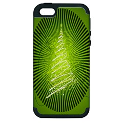 Vector Chirstmas Tree Design Apple Iphone 5 Hardshell Case (pc+silicone)