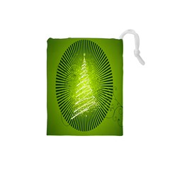 Vector Chirstmas Tree Design Drawstring Pouches (small)