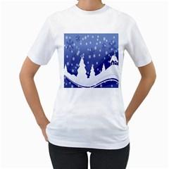 Vector Christmas Design Women s T-Shirt (White) (Two Sided)