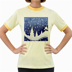 Vector Christmas Design Women s Fitted Ringer T-Shirts