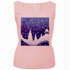 Vector Christmas Design Women s Pink Tank Top