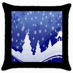 Vector Christmas Design Throw Pillow Case (black)