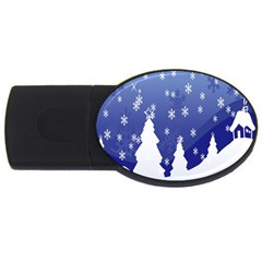 Vector Christmas Design USB Flash Drive Oval (1 GB)
